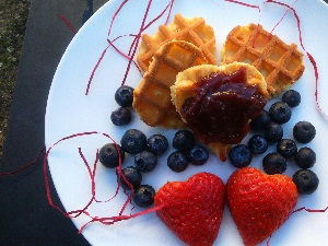 Heart Shaped Waffles with Jamco Spread