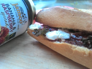 Jamco Banana and Raspberry Spread Goats Cheese Sandwich