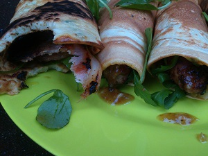 Pancakes Sausage and Bacon with Jamco Fig Dressing