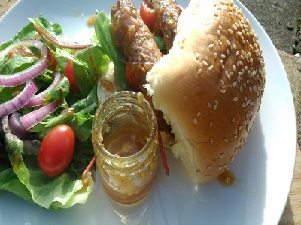 Veggie Sausages with Tomatoes and Salad
